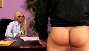 Sexy adult star Gina Lynn copulates with lucky chap in the office ALIVEGIRLcom