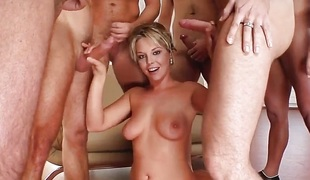 Facial group cumshots for sexy Karin on Cum For Cover