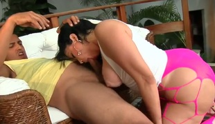 Soraya Carioca with bubbly bottom and shaved bush has a great time wanking mans worm