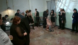 Hellacious slut acquires a rough group thrashing for her love tunnel