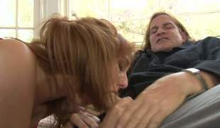 Topless redhead Rose Red with sweet boobs gives head to an older guy. Lengthy haired stud Evan Stone gets his strong rod polished with her soft lips. Naughty Rose Red blows like a champ