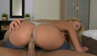 Blond Ivana Sugar acquires her mouth pumped full of love stick in blowjob act with lewd team fuck buddy