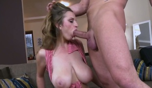 Sun Suzie with massive melons receives cum drenched