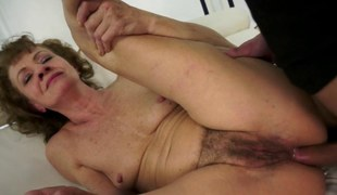Smalltit granny assfucked after a blowjob