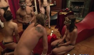 Swing reality show group masked underware amateurs