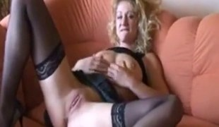 German Mama playing  with her self