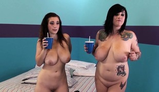 Curvaceous brunettes Noelle Easton and Scarlett LaVey fuck a big pole