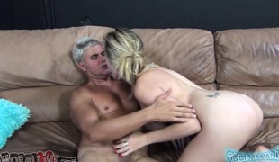 Lustful blonde Lia Lor gets her wet peach eaten out and team-fucked hard
