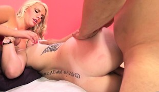 Alluring golden-haired lesbians Cherry Morgan and Iris Rose getting creamed