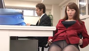 Yui Hatano is always willing to have doggy position sex in the office!