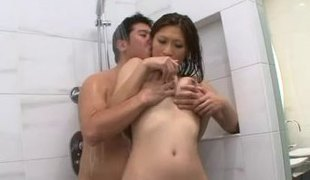 Japanese natural meatballs getting fondled in the shower