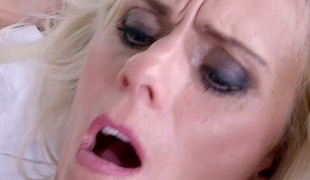 Incredibly hot blonde haired bombshell Dyana Hot asked brutal paramour to nail her fanny tough