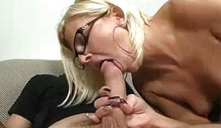 Lucky Fellow Gets Cock sucked by hot granny