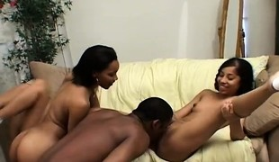 2 black dudes are macking out and banging on 2 horny sluts