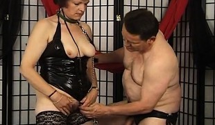 Granny decked out in her leathers get to do what her dom tells her