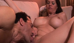 Stacked milf June Summers has a fellow licking and drilling her wet pussy