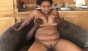 Obese black Insatiable puts his pecker in all of her holes to pump