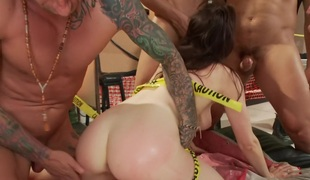 Hot Sorority Girl gangbanged for the first time. Double vag!
