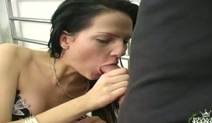 Dangerously sexually excited cutie fulfills her raunchy needs and wishes with dudes sausage in her mouth