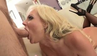 Manuel Ferrara stuffs his meat stick in flirty Phoenix Maries throat before she takes it in her ass