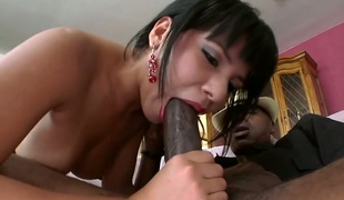 Chica Rose with round booty and clean pussy doing wild things with horny group sex buddy in interracial sex action