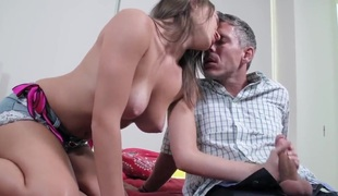 A dude sees his allies daughter and he cant help himself when he sees her huge tits. The girl acquires them licked and then she starts licking his hard dick.