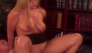 Smoking hot blondie is screwed missionary style in the office