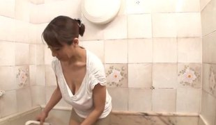 Large Japanese milf tits rubbing all over his in nature's garb body