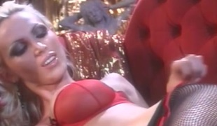 Breasty Milf in red fetish outfits foot fucking their cunts