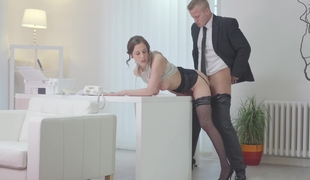 Secretary bent over the desk increased by fucked