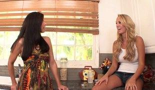 Gorgeous India Summer fucks sexy blonde pornstar Brett Rossi