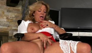 Big bumpers secretary masturbating erotically at work