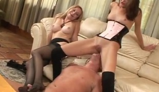 Dom beauties sitting on the face of a sub guy