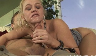Blonde with charming tits acquires her mellow wet pussy screwed doggy style