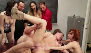Veronica Avluv has oral sex fun with horny gangbang buddy