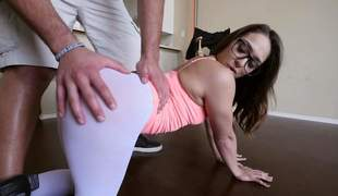 sexy Sara Luvv is proud of her bubble butt. Four-eyed honey shows her cameltoe and then pulls down her skin tight white panties. Her big perfect ass makes mans knees weak