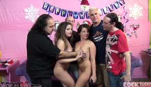 Pornstar Ron Jeremy has Casey Cumz and Ashlynn Leigh sharing his cock