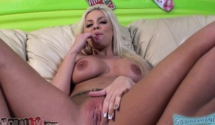 Stacked cutie Britney Amber toys her soaked peach and bonks a long pole