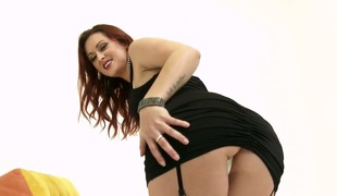 Salacious red haired hoe Karlie Montana copulates herself with sex-toy