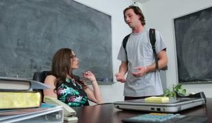 Horny teacher deepthroating handsome college student's cock
