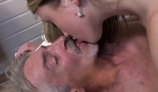 Kinky slim girl gives grandad full erotic massage