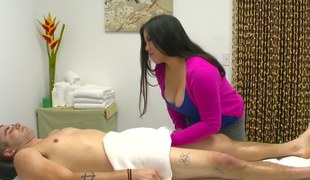Fat Oriental masseuse gives her client everything he needs