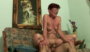 A wicked old woman gets a young cock in her meaty fur pie