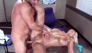 A golden-haired gets naked in the office and she gets pounded really hard