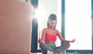 Young Latina is doing some yoga and also anal-copulation