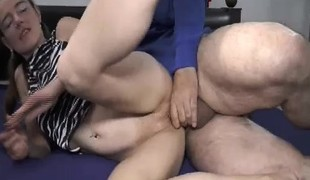 Teen bawdy cleft double fisting and cock penetration