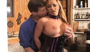 Bodacious blonde slut hangs on for a large cock and a hard anal fucking