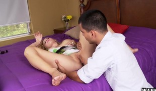 Captivating blonde mom with amazing tits Kylie Knight loves youthful meat