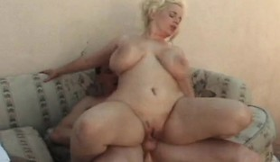 Breasty blond bimbo eats dick throughout a watermelon and gets drilled