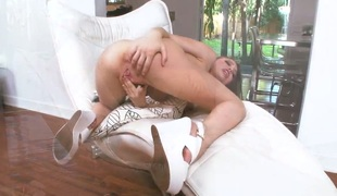 With small breasts and bald bush cant stop dildoing her cunt